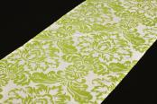 Flocking Taffeta Runner - Apple Green & White
