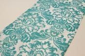 Flocking Taffeta Runner - Turquoise & White