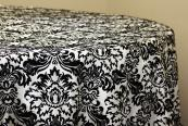 "Flocking Taffeta 120"" Tablecloth - Black & White"
