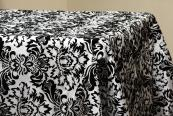 "90""x132"" Flocking Tablecloth - Black & White"