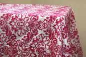"90""x156"" Flocking Tablecloth - Fuchsia & White"