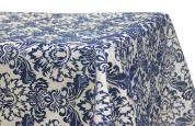 "60""x120"" Flocking Tablecloth - Royal Blue & White"