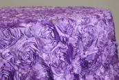 "Wedding Rosette SATIN 115"" Tablecloth - Victorian Lilac"