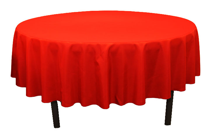 "Polyester 90"" Round Tablecloth - Red"